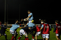 Matt Eliet of London Scottish practices line outs during the Championship Cup match between London Scottish Football Club and Yorkshire Carnegie at Richmond Athletic Ground, Richmond, United Kingdom on 4 October 2019. Photo by Carlton Myrie / PRiME Media Images