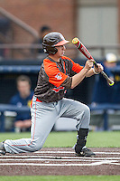 Bowling Green Falcons catcher Justin Mott (7) squares to bunt against the Michigan Wolverines on April 6, 2016 at Ray Fisher Stadium in Ann Arbor, Michigan. Michigan defeated Bowling Green 5-0. (Andrew Woolley/Four Seam Images)