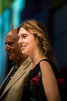 Bologna 4 settembre 2014, Festa dell'Unit&agrave; Nazionale. Marianna Madia ministro della pubblica amministrazione incontra Luigi Angeletti, segretario UIL. <br /> Dopo la decisione di mantenre bloccati gli stipendi degli statali, Madia: &quot;Prometto solo quello che so di mantenere&quot;