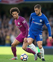 Eden Hazard of Chelsea & Leroy Sane of Manchester City during the EPL Premier League match between Chelsea and Manchester City at Stamford Bridge, London, England on 30 September 2017. Photo by Andy Rowland.