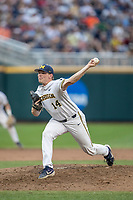 Michigan Wolverines pitcher Ben Keizer (14) delivers a pitch to the plate against the Vanderbilt Commodores during Game 2 of the NCAA College World Series Finals on June 25, 2019 at TD Ameritrade Park in Omaha, Nebraska. Vanderbilt defeated Michigan 4-1. (Andrew Woolley/Four Seam Images)