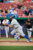 South Bend Cubs designated hitter Michael Cruz (8) grounds out during a game against the Kane County Cougars on July 23, 2018 at Northwestern Medicine Field in Geneva, Illinois.  Kane County defeated South Bend 8-5.  (Mike Janes/Four Seam Images)