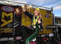 Feb 28, 2016; Chandler, AZ, USA; NHRA top fuel driver Leah Pritchett celebrates after winning the Carquest Nationals at Wild Horse Pass Motorsports Park. Mandatory Credit: Mark J. Rebilas-USA TODAY Sports