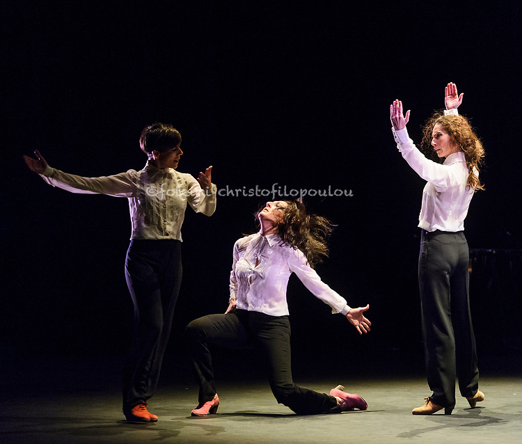 London, UK. 18.02.2018. Dramatist Pedro G. Romero and flamenco dancers Ursula López, Tamara López and Leonor Leal present Painter and Flamenco: J.R.T. as part of the Flamenco Festival London 2018 at Sadler's Wells Theatre, 18 Feb. Photo shows: Leonor Leal,  Úrsula López, Tamara López. Photo - © Foteini Christofilopoulou.