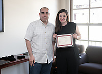 Claire Krelitz '19<br /> Richard Mora, Associate Professor, Sociology; Affiliated Faculty, Latino/a & Latin American StudiesStudents, faculty and staff gather on Thursday, May 2, 2019 in the JSC Morrison Lounge for the Sociology Senior Comps presentations, awards ceremony, and year-end celebration.<br /> (Photo by Marc Campos, Occidental College Photographer)