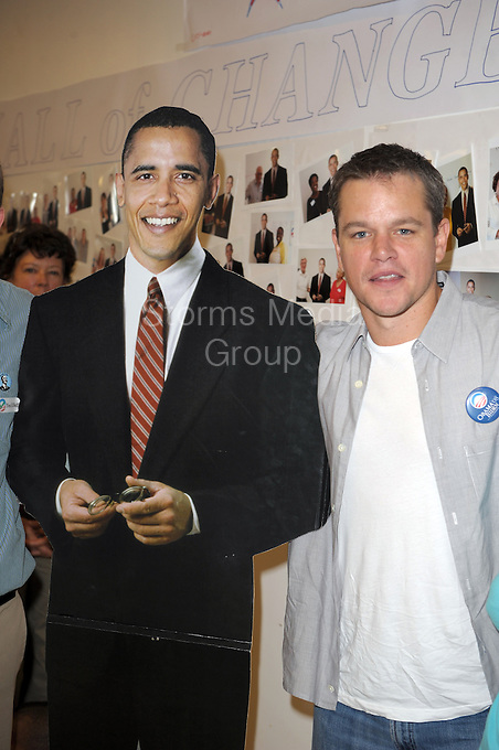 "SMG_SMG_EXC_Matt Damon_Obama_West Palm_102608_02_Matt Damon_Blasts Obama_122311_07.JPG<br /> <br /> FILE PHOTO<br /> Orig Pix Taken  SMG_Matt Damon_Mamas For Obama_102708_13 -  Miami Beach - Florida - United States Of America <br /> -----------------------------------<br /> <br /> MIAMI BEACH, FL - DECEMBER 22: (DAILY MAIL UK) Matt Damon has taken another swipe at Barack Obama and dismissed him as a 'one term President.' In his most ferocious attack to date, the Hollywood star vented his anger at the President's failure to bring about change in America. He said: 'I've talked to a lot of people who worked for Obama at the grassroots level. One of them said to me, ""Never again. I will never be fooled again by a politician"".'  'You know, a one-term president with some balls who actually got stuff done would have been, in the long run of the country, much better.'  His latest attack was made in an interview for Elle magazine to promote his new film We Bought a Zoo.  Damon, 41,was one of the biggest Hollywood stars to stump for Obama during his 2008 election campaign. He attended fund raising events and was vocal in his support for the Democrat who was elected on a mandate of 'change' and 'hope'. But over the last year the Bourne Identity star has changed his opinion - and been more than happy to publicise his disenchantment.  <br /> <br /> In March, he criticized Obama's education policy,saying 'I really think he misinterpreted his mandate.   'A friend of mine said to me the other day, I thought it was a great line, ""I no longer hope for audacity."" He's doubled down on a lot of things.'  President Obama even mentioned Damon's change of heart during this year's White House Correspondent's Ball. He said: 'I've even let down my key core constituency: movie stars. Just the other day, Matt Damon - I love Matt Damon, love the guy - Matt Damon said he was disappointed in my performance. Well, Matt, I just saw The Adjustment Bureau, so - right back at-cha, buddy. . on December 22, 2011 in Miami Beach, Florida  (Photo By Stor"