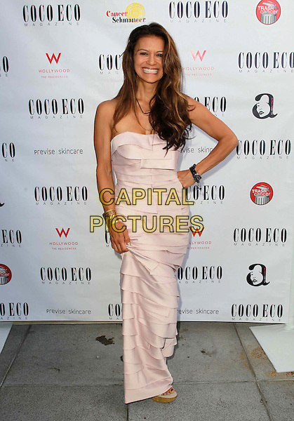 Nia Peeples.Coco Eco Green Emmy Suite Held at At W Hollywood Hotel, Hollywood, California, USA..September 19th, 2012.full length pink strapless dress layered layers hand on hip smiling .CAP/ADM/FS.©Faye Sadou/AdMedia/Capital Pictures.