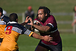 Selwyn Tuhi prepares to try & fend off Nick Oakden. CMRFU Counties Power Cup Game of the Week between Te Kauwhata & Puni played at Te Kauwhata on Saturday May the 3rd, 2008..Te Kauwhata led 5 - 0 at halftime & went on to win 29 - 0.