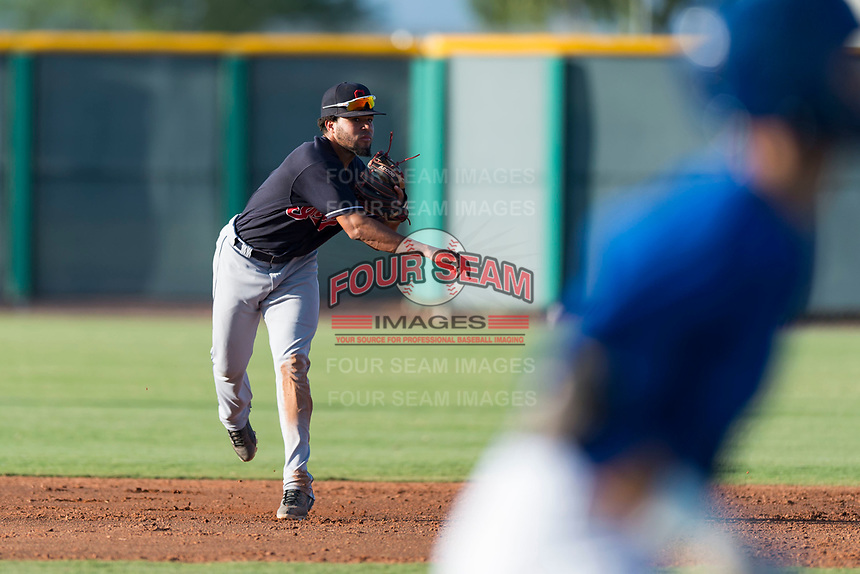 AZL Indians 1 shortstop Marcos Gonzalez (1) makes a throw during an Arizona League game against the AZL Cubs 1 at Sloan Park on August 27, 2018 in Mesa, Arizona. The AZL Cubs 1 defeated the AZL Indians 1 by a score of 3-2. (Zachary Lucy/Four Seam Images)