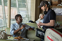 Behind the scenes photo of Jason Reitman & Mamoudou Athie<br /> Mamoudou Athie, left, and Director Jason Reitman on the set of <br /> The Front Runner (2018) <br /> *Filmstill - Editorial Use Only*<br /> CAP/RFS<br /> Image supplied by Capital Pictures