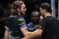 Greek player Stefanos Tsitsipas (GRE) avec Roger Federer (SUI) <br /> <br /> <br /> <br /> London 16/11/2019 O2 Arena <br /> Tennis Nitto ATP Finals 2019 <br /> Photo Melanie Jeusette / Panoramic/ Insidefoto