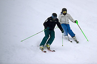 Melissa Perrine/ Skier (w/guide C Geiger)<br /> Australian Paralympic Committee<br /> 2017 Alpine skiing training camp for <br /> 2018 Pyeongchang South Korea Paralympics<br /> Perisher NSW / August 17th 2017<br /> &copy; Sport the library / Jeff Crow