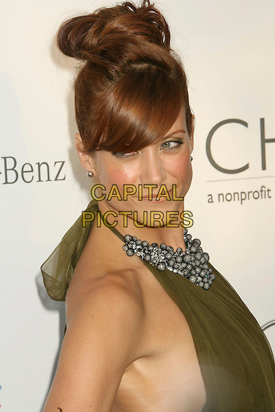 KATE WALSH.Sixth Annual Chrysalis Butterfly Ball held at the Home of Susan Harris and Hayward Kaiser, Mandeville Canyon, California, USA..June 2nd, 2007.headshot portrait green beads beaded halterneck collar .CAP/ADM/RE.©Russ Elliot/AdMedia/Capital Pictures *** Local Caption *** ..