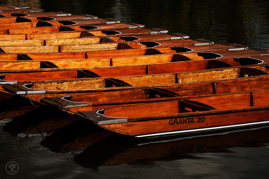 Punts on the Granta at Cambridge in the bright spring sunlight.