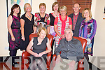 Ned Brosnan, Farranfore, pictured with Bernadette Brosnan, Catherine Lyons, Joan Cullinane, Teresa O'Leary, Eileen Cullinane, Margaret Doona, John McCarthy and Mary O'Connor, at his retiirement party from the Kerry Mental Health service, in Lord Kenmares, KIllarney on Friday night.