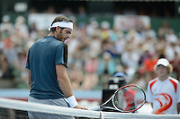 MELBOURNE, AUSTRALIA - JANUARY 12: JUAN MARTIN DEL POTRO (ARG) reacts after hitting the net in the final against LLEYTON HEWITT (AUS) in the 2013 AAMI Classic event at the Kooyong Lawn Tennis Club in Melbourne, Australia. Hewitt won 6-1 6-4 (Photo Sydney Low)