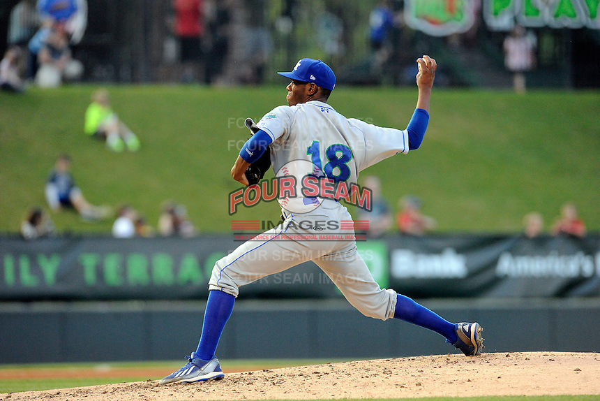 Starting pitcher Torey Deshazier (18) of the Lexington Legends delivers a pitch in a game against the Greenville Drive on Tuesday, April 14, 2015, at Fluor Field at the West End in Greenville, South Carolina. Lexington won, 5-3. (Tom Priddy/Four Seam Images)