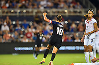 Kansas City, KS. - July 22, 2016: The U.S. Women's National team go up 3-0 over Costa Rica with Carli Lloyd adding a goal in first half play during a friendly match in preparation for the Olympics at Children's Mercy Park.