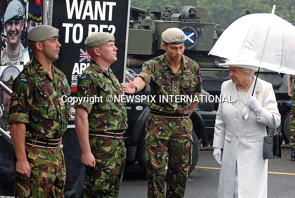 "QUEEN.on Armed Forces Day visited the Royal Scots Dragoon Guards in Redford Barracks, Edinburgh. The Queen is the  regiment's Colonel-in-Chief. The Regiment is providing Her Majesty's Royal Guard at Holyrood Palace for Royal Week this week_27/6/09.Photo Credit: ©M Owens_Newspix International..**ALL FEES PAYABLE TO: ""NEWSPIX INTERNATIONAL""**..PHOTO CREDIT MANDATORY!!: NEWSPIX INTERNATIONAL..IMMEDIATE CONFIRMATION OF USAGE REQUIRED:.Newspix International, 31 Chinnery Hill, Bishop's Stortford, ENGLAND CM23 3PS.Tel:+441279 324672  ; Fax: +441279656877.Mobile:  0777568 1153.e-mail: info@newspixinternational.co.uk"