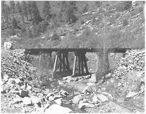 Trestle 158-B east of Porter over Wildcat Creek.<br /> RGS  Porter, CO  Taken by Chione, A. G. - ca 1949