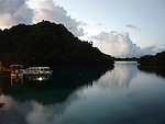 Palau, Micronesia -- Tranquil bay in front of our private hotel beach.