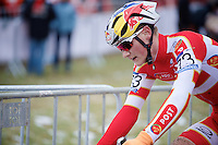 Simon Andreassen (DEN) up close <br /> <br /> Men Juniors Race<br /> <br /> 2015 UCI World Championships Cyclocross <br /> Tabor, Czech Republic