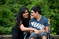 Pictured: Parmi Dheensa (L) with her son Callum at Caswell Bay near Swansea, Wales, UK. Friday 04 August 2017<br /> Re: Parmi Dheensa who founded black and minority ethnic charity, Include Me Too to help BME parents of children with autism and leaning disabilities.