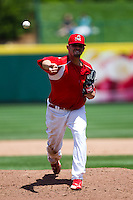 David Kopp (44) of the Springfield Cardinals delivers a pitch during a game against the San Antonio Missions on May 30, 2011 at Hammons Field in Springfield, Missouri.  Photo By David Welker/Four Seam Images
