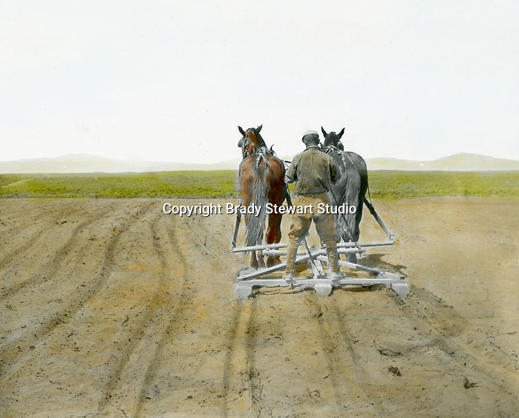 Jerome ID:  Brady Stewart plowing the fields on the 160 acre homestead - 1909.  Brady Stewart and three friends went to Idaho on a lark from 1909 thru early 1912.  As part of the Mondell Homestead Act, they received a grant of 160 acres north of the Snake River.  Brady Stewart photographed the adventures of farming along with the spectacular landscapes. To give family and friends a better feel for the adventure, he hand-color black and white negatives into full-color 3x4 lantern slides.  The Process:  He contacted a negative with another negative to create a positive slide.  He then selected a fine brush and colors and meticulously created full color slides.