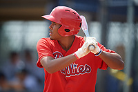 GCL Phillies East Marcus Lee Sang (9) bats during a Gulf Coast League game against the GCL Yankees East on July 31, 2019 at Yankees Minor League Complex in Tampa, Florida.  GCL Yankees East defeated the GCL Phillies East 11-0 in the first game of a doubleheader.  (Mike Janes/Four Seam Images)