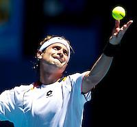 David Ferrer (ESP) (17) against Marcus Baghdatis (CYP) in the Seocnd Round of the Mens Singles. Baghdatis beat Ferrer 4-6 3-6 7-6 6-3 6-1..International Tennis - Australian Open Tennis - Thur 21 Jan 2010 - Melbourne Park - Melbourne - Australia ..© Frey - AMN Images, 1st Floor, Barry House, 20-22 Worple Road, London, SW19 4DH.Tel - +44 20 8947 0100.mfrey@advantagemedianet.com