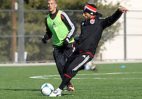 WASHINGTON, DC - February 06, 2012: Dwayne De Rosario of DC United takes a shot during a pre-season practice session at Long Bridge Park, in Arlington, Virginia on February 6, 2013.