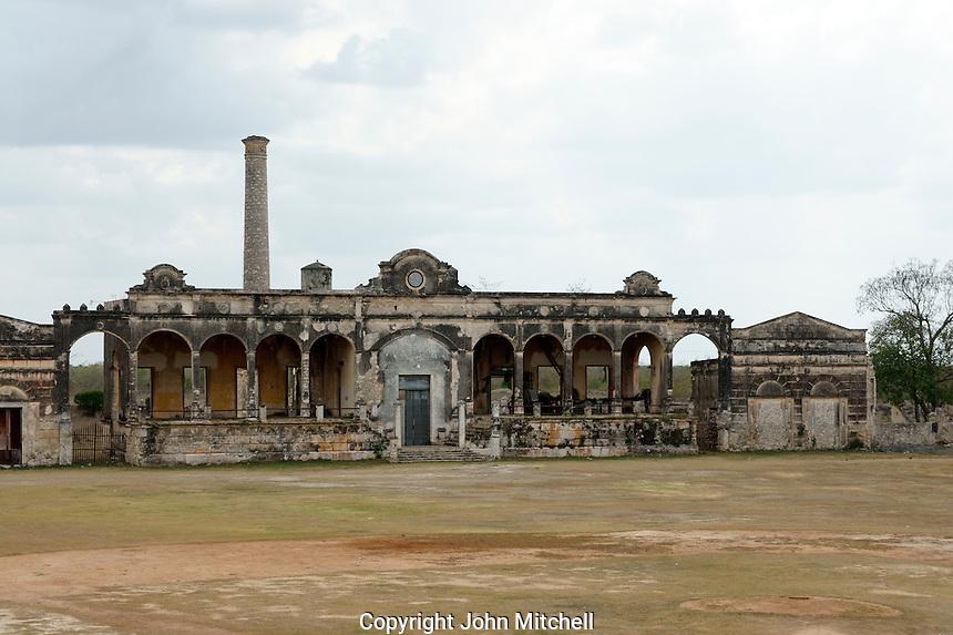 Machine room where henequen was processed at at Hacienda Yaxcopoil, Yucatan, Mexico.