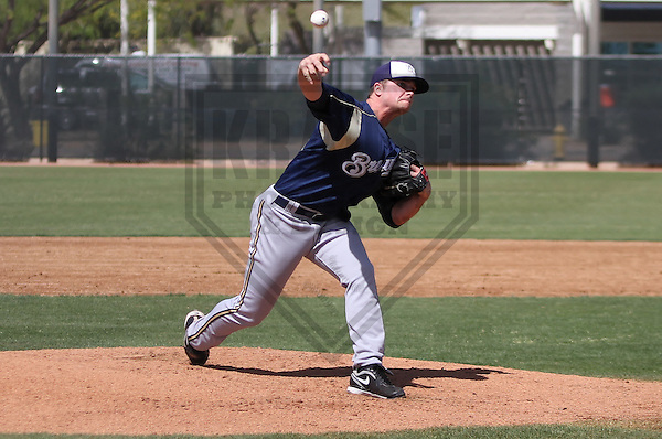MARYVALE - March 2014: Barrett Astin of the Milwaukee Brewers during a spring training game against the Oakland Athletics on March 18th, 2014 at Maryvale Baseball Park in Maryvale, Arizona.  (Photo Credit: Brad Krause)