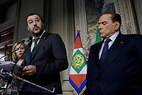 Roma, 12 Aprile 2018<br /> Matteo Salvini, Silvio Berlusconi<br /> Secondo giro di Consultazioni per la formazione del Governo