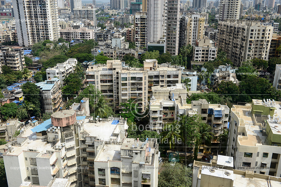 INDIA, Mumbai, skyscraper in suburb Goregoan