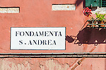A street sign in the sestiere of Cannaregio in Venice, Italy.