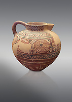 Spherical jug spiral and floral decorated. Early Cycladic I (1650-1550 BC); Phylakopi; Melos. National Archaeological Museum Athens. Cat No 5818.  Grey background.<br /> <br /> <br /> During this Cycladic period the pottery designs were heavily influenced by Cretean minoan with pottery.