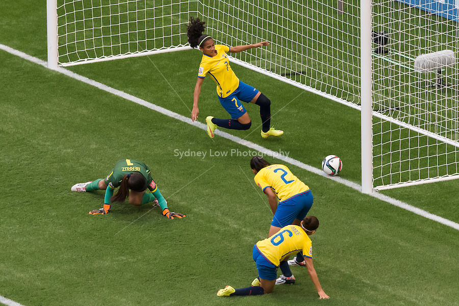 June 12, 2015: Angie PONCE of Ecuador scores an own goal during a Group C match at the FIFA Women's World Cup Canada 2015 between Switzerland and Ecuador at BC Place Stadium on 12 June 2015 in Vancouver, Canada. Switzerland won 10-1. Sydney Low/AsteriskImages
