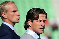 GRONINGEN - Voetbal, FC Groningen - FC Twente,  Eredivisie , Noordlease stadion, seizoen 2017-2018, 24-09-2017,   FC Groningen trainer Ernest Faber met Peter Hoekstra