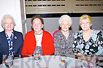 ENJOYING: Having a great day Sunday at the Currow and Currans Parish senior citizen christmas luinch in the Earl of Desmond Hotel, Tralee, l-r: Mary Daly, Bridie Daly, Kitty Leevy and Maura Tamas.