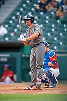 Lehigh Valley IronPigs first baseman Matt McBride (30) at bat in front of catcher Danny Jansen (9) during a game against the Buffalo Bisons on June 23, 2018 at Coca-Cola Field in Buffalo, New York.  Lehigh Valley defeated Buffalo 4-1.  (Mike Janes/Four Seam Images)