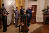 United States President Donald J. Trump greats guests at the Young Black Leadership Summit 2019 at the White House in Washington, D.C. on Friday October 4, 2019.     <br /> Credit: Tasos Katopodis / Pool via CNP