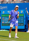June 19th 2017, Queens Club, West Kensington, London; Aegon Tennis Championships, Day 1; Denis Shapovalov (CAN) reacts after he breaks serve during his 1st round singles match against Kyle Edmund (GBR)
