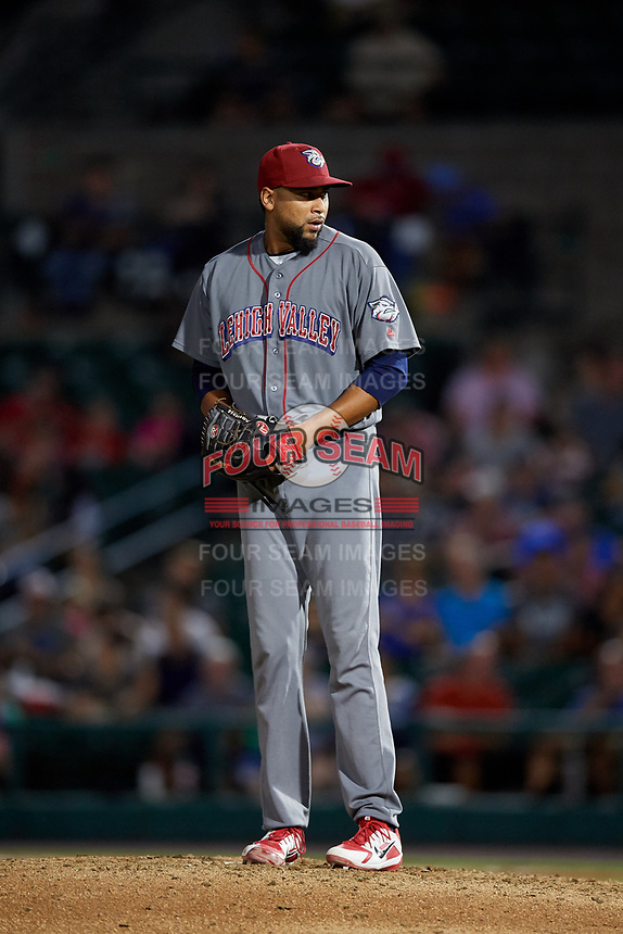 Lehigh Valley IronPigs relief pitcher Pedro Beato (44) gets ready to deliver a pitch during a game against the Rochester Red Wings on September 1, 2018 at Frontier Field in Rochester, New York.  Lehigh Valley defeated Rochester 2-1.  (Mike Janes/Four Seam Images)