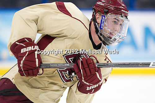 Pat Mullane (BC - 11) - The Boston College Eagles practiced on Wednesday, April 4, 2012, during the 2012 Frozen Four at the Tampa Bay Times Forum in Tampa, Florida.