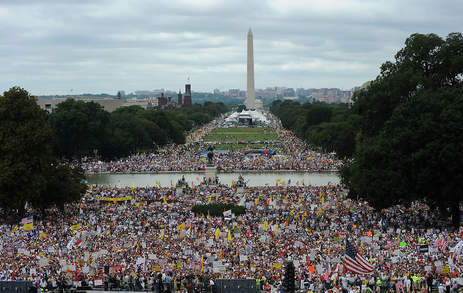 A crowd gathers on Capitol Hill to have thier voices heard during the Tea Party Protest on Sept. 12, 2009 in Washington, DC.