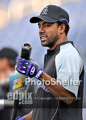 16 August 2008: Colorado Rockies' center fielder Willy Taveras prepares to take batting practice prior to facing the Washington Nationals at Nationals Park in Washington, DC.  The Rockies defeated the Nationals 13-6, handing the last place Nationals their 9th consecutive loss. ..Mandatory Photo Credit: Ed Wolfstein Photo