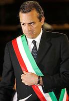 """NAPOLI CONFERIMENTO DELLA CITTADINANZA ONORARIA AL PRESIDENTE DELL'AUTORITA PALESTINESE.NELLA FOTO   LUIGI DE  DE MAGISTRIS.FOTO CIRO DE LUCA Palestinian Authority President, Mahmoud Abbas  awarded honorary citizenship by Mayor of Naples, Luigi de Magistris  , during a ceremony in Naples Luigi de Magistris condannato nel processo """" why not"""""""