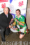 Jerry Dwyer Production manager of Lee Strand who presented the Coiste Thra? Li? Lee Strand Junior League Cup to Graham Higgins  capt  John Mitchels  after they defeated St Pats Blennerviulle in the Coiste Thra? Li?, Lee Strand Junior League Final at Kerins O'Rahillys GAA Grounds Strand Road, Tralee on Monday evening..............